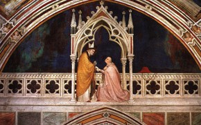 Picture mural, The Sienese school of painting, Simone Martini, The consecration of the chapel