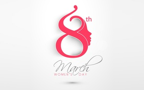 Wallpaper minimalism, holiday, date, calendar, March 8, Women's Day