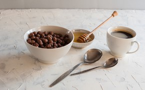 Picture balls, coffee, Breakfast, honey, spoon