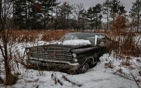 Picture field, machine, snow, scrap