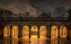 Wallpaper arch, light, night