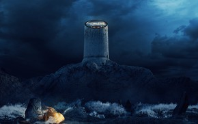 Picture night, clouds, rock, construction, The three colors of the Lighthouse - BLUE