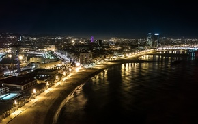 Picture Night, Panorama, Promenade, Spain, Night, Barcelona, Barcelona, Spain, Panorama