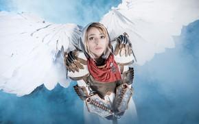 Picture girl, angel, sword, cosplay