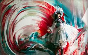 Wallpaper circles, landscape, mountains, red, pose, blue, paint, toy, portrait, picture, doll, dress, brunette, art, outfit, ...