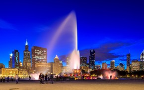 Picture the sky, lights, people, home, the evening, area, Chicago, fountain, USA, Buckingham fountain