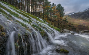 Picture clouds, trees, mountains, waterfall, cascade, Wales
