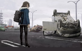 Picture girl, machine, street
