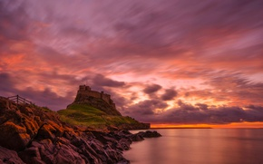 Picture clouds, rock, stones, England, mountain, glow, Holy island, Lindisfarne