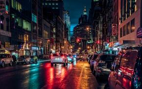 Picture night, lights, street, New York, Manhattan, New-York, Manhattan, Chinatown