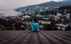 Picture girl, the city, view, height, on the roof, Aleks Five