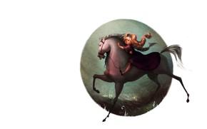 Picture mood, girl, Art, children's, horse, Celia Kaspar
