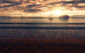 Picture sea, the sky, nature, ship