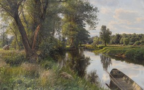 Wallpaper Summer Landscape, river, nature, Peder Mørk Mønsted, Peter Merk Of Menstad, boat, picture