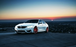 Picture BMW, red, white, auto, M3, powered by M