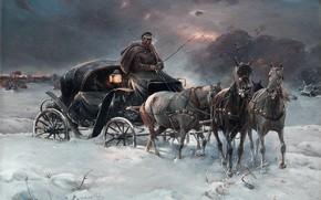 Wallpaper painting art, horses, snow, nature, coachman, Alfred Kowalski-Verush, art, sunset, twilight, painter, sky, snowy landscape, ...
