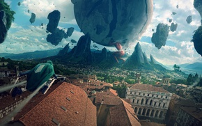 Picture roof, the city, people, anime, Shingeki no Kyojin, colossal titan, The Invasion Of The Giants, …