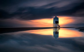 Picture Burnham-on-sea, sea, England, clouds, lighthouse