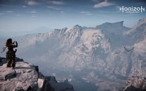 Picture Girl, Mountains, Bird, Snow, Canyon, Fur, Bow, PS4 Pro, Horizon Zero Dawn, SonyPlaystation, This, It
