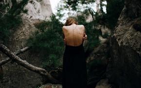 Picture forest, girl, back, Aleks Five