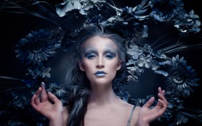 Picture look, girl, flowers, face, style, hands, makeup