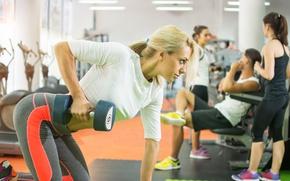 Wallpaper hardwork, gym, exercises, pose, Blonde, female, fitness, workout, Dumbbell
