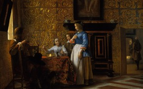 Picture people, interior, picture, Pieter de Hooch, Free time in elegant surroundings