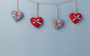 Picture background, Hearts, garland, Toys