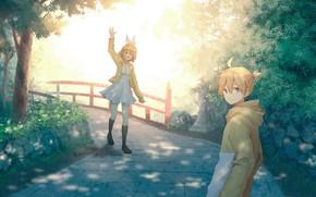 Picture anime, art, vocaloid, two, kagamine rin, kagamine len