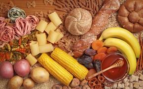 Picture corn, honey, bread, bananas, pasta, potatoes, cuts, pasta, dried fruits