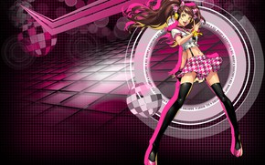Picture girl, background, anime, pink background, Person 5