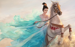 Wallpaper Girl, Horse, Figure, Art, Asian Princess