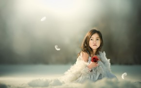 Picture flower, background, girl, Asian