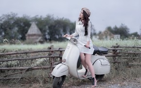 Picture girl, Asian, a scooter