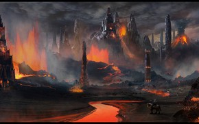 Picture rocks, lava, tower, rider, Volcanic Temple
