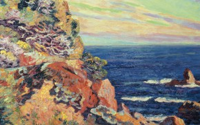 Wallpaper sea, picture, The rocks in Agay, Armand Guillaumin, Arman Hyomin, landscape