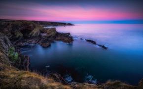 Picture sea, rocks, dawn, coast, Scotland, cave, Scotland, Morayshire