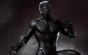 Picture background, fiction, black, mask, art, costume, poster, comic, MARVEL, Black Panther, Black Panther