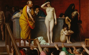 Wallpaper Selling Slave Girls, Jean-Leon Gerome, picture, erotic, genre