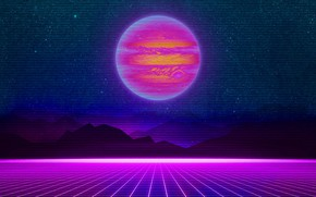 Picture Mountains, Music, Stars, Neon, Planet, Space, Background, Jupiter, Electronic, Synthpop, Darkwave, Synth, Retrowave, Synth-pop, Sinti, …