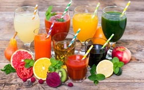 Picture leaves, berries, raspberry, lemon, Apple, orange, kiwi, glasses, pear, glasses, fruit, drinks, vegetables, tomato, tube, ...