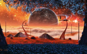 Picture trees, flowers, rendering, people, fiction, planet