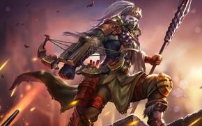 Picture girl, warrior, mask, hon, crossbow, Heroes of Newerth, moba, Bushwack, Mech Huntress Bushwack