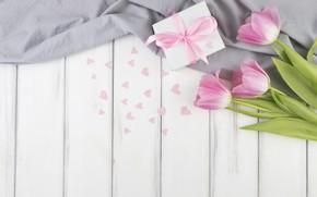 Wallpaper flowers, bouquet, hearts, tulips, pink, wood, flowers, present, decor