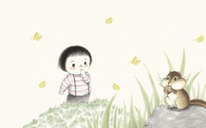 Picture summer, mood, figure, baby, art, clearing, curiosity, illustration, children's, Cho Eunsu, Well jjakjjakjjak