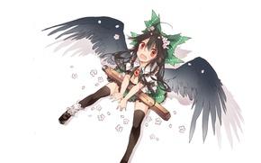 Picture shadow, stockings, white background, flowers, sitting, touhou, art, third eye, looking up, Reiu Equipment, Utsuho, …