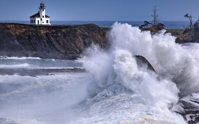 Picture sea, squirt, storm, house, rocks, lighthouse