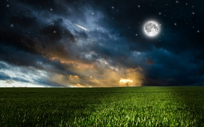 Wallpaper clouds, grass, the sky, night, field, greens, photoshop, the moon, stars
