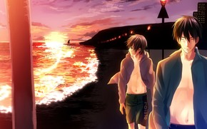 Picture sea, sunset, anime, art, walk, guys, Provides ichi Hatsukoi