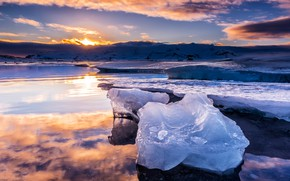 Picture ice, winter, the sky, water, the sun, clouds, snow, landscape, sunset, mountains, reflection, blue, shore, …